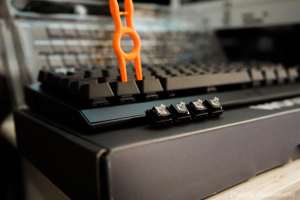 wooting one avec quatres touches détachées et l'outil sur une touche