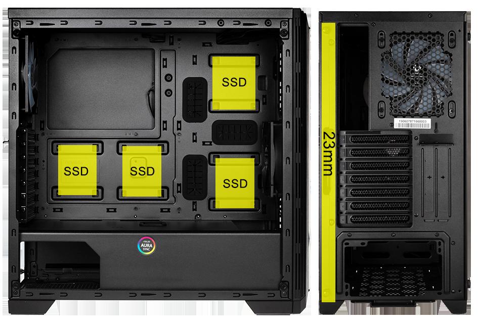 Les différents emplacement des SSD et HDD dans le BitFenix Saber