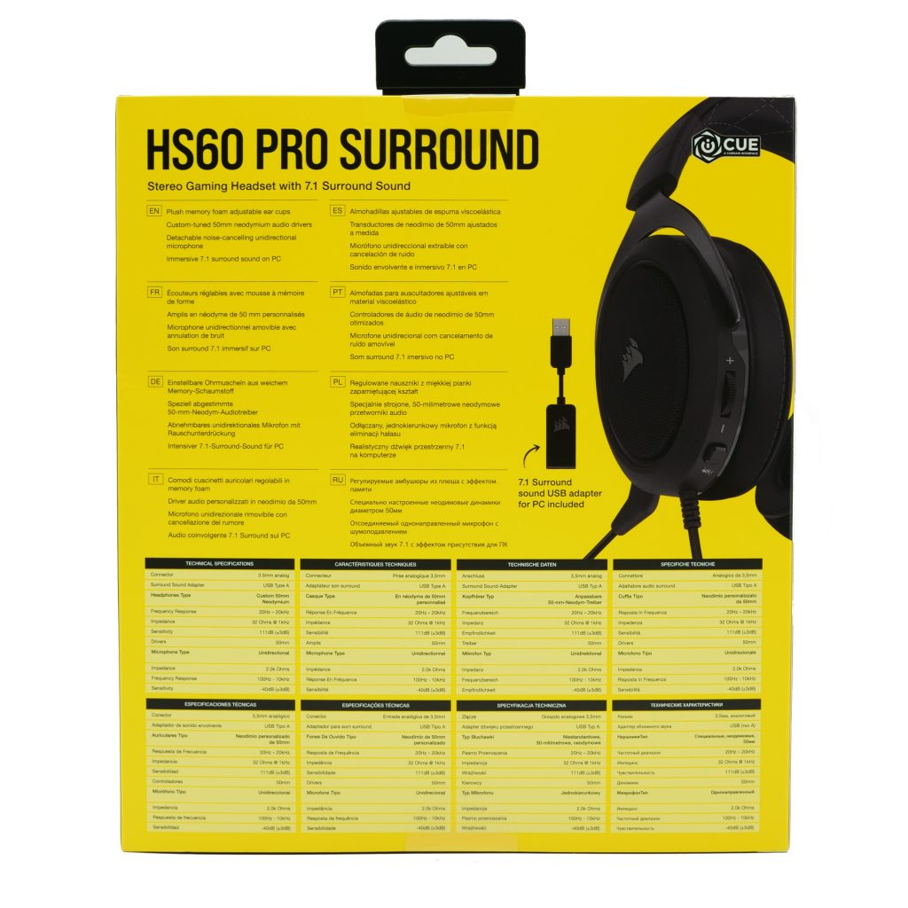 Corsair HS60 Pro Surround emballage